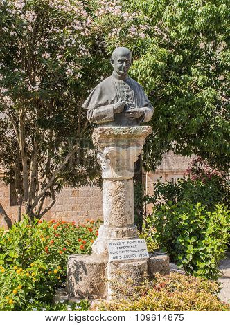 A Monument, A Bust Of Pope Paul Vi On Mount Tabor