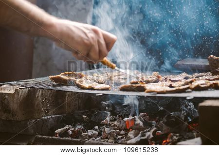 Grilling Pork Meat Chops On Barbecue