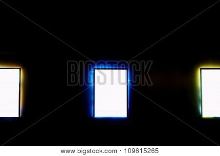 Empty banners with colorful frame in urban setting