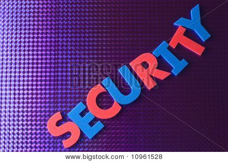 Security Word On Blue Neon Background