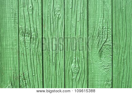 Green Wooden Fence Closeup