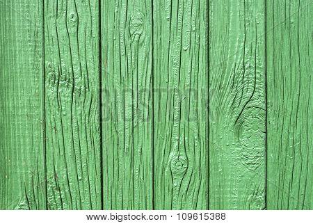 Green Wooden Fence Closeup