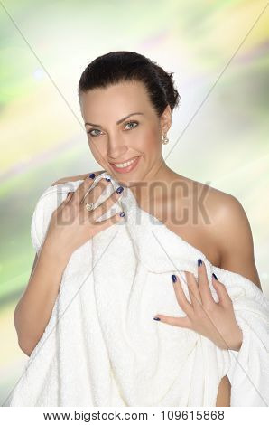 Ggirl Wrapped In A White Towel