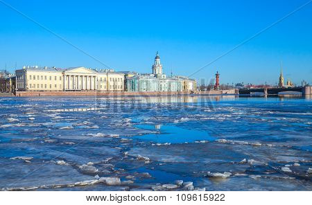 Cityscape With Ice Floating  On Neva River