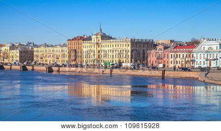 Cityscape With Old Buildings Facades Along Neva