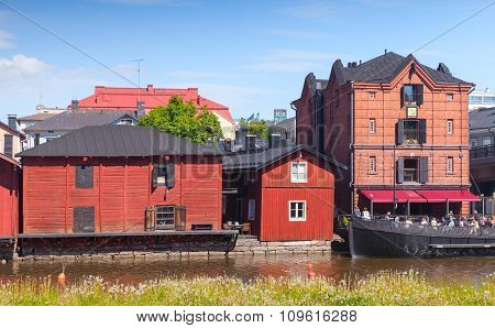 Old Wooden Houses On The River Coast, Porvoo