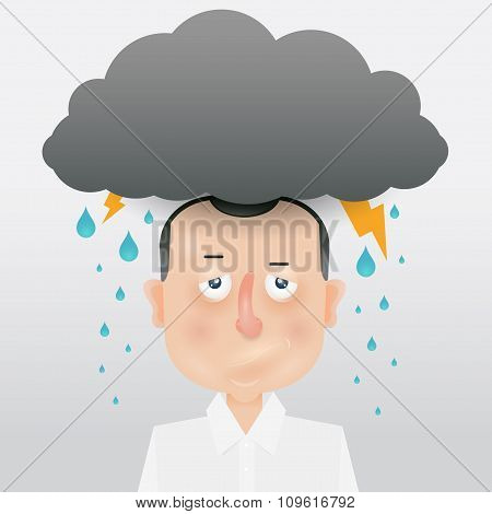 Cartoon Young Man With A Gray Cloud On The Head.