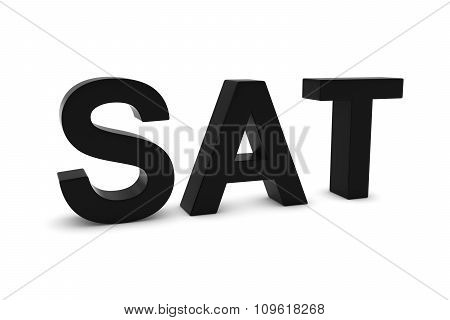 Sat Black 3D Text - Saturday Abbreviation Isolated On White