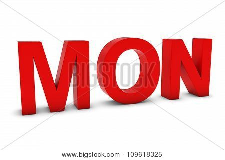 Mon Red 3D Text - Monday Abbreviation Isolated On White