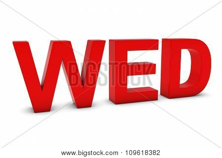 Wed Red 3D Text - Wednesday Abbreviation Isolated On White