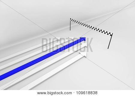 Blue 3D Arrow Wins The Race