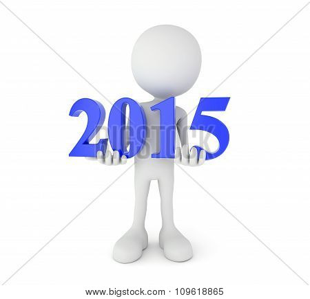 Cartoon Person Holds 2015 Text