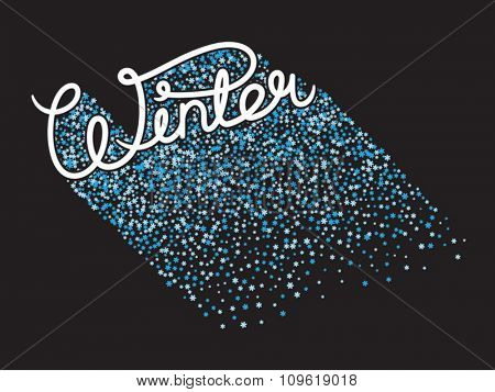 Handwritten winter lettering with snowflake shadow. Stock vector lettering typography