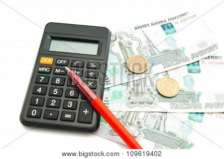 Banknotes, Calculator And Pen On White