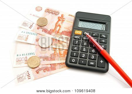Calculator, Banknotes And Pen
