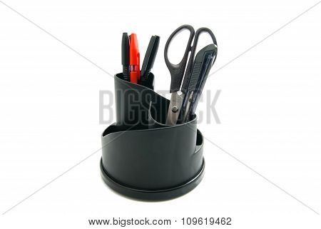 Knife And Other Office Stationery On White
