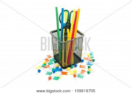 Thumbtacks And Other Colorful Office Stationery