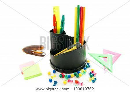 Stapler And Other Colorful Office Stationery