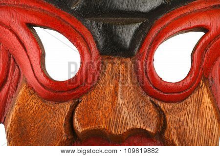 Asian Traditional Wooden Painted Mask Close Up