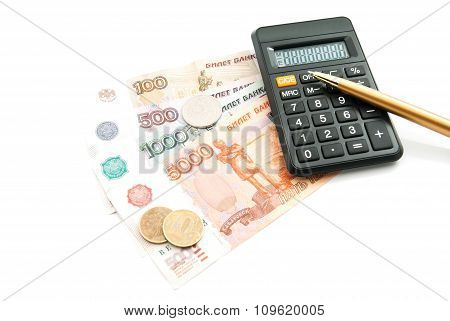 Black Calculator, Banknotes And Pen