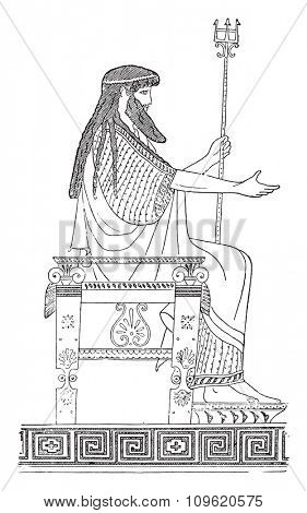 Greek throne, vintage engraved illustration. Private life of Ancient-Antique family-1881.
