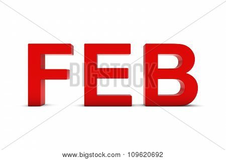 Feb Red 3D Text - February Month Abbreviation On White