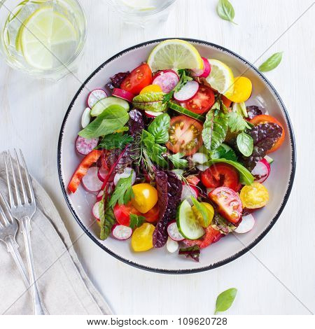 Healthy Salad With Fresh Summer Vegetables