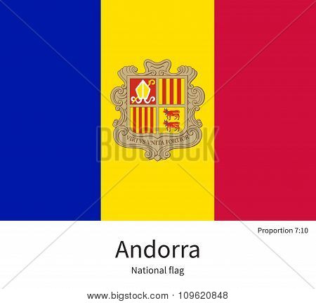 National flag of Andorra with correct proportions, element, colors