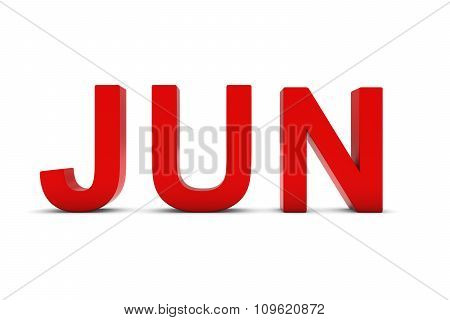Jun Red 3D Text - June Month Abbreviation On White