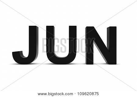 Jun Black 3D Text - June Month Abbreviation On White