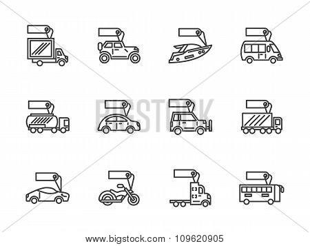 Vehicles sale black line vector icons set