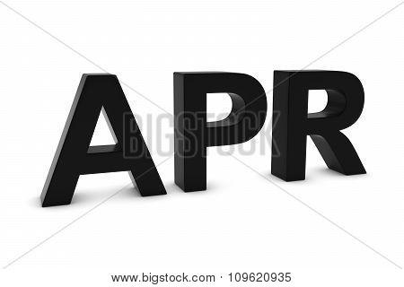 Apr Black 3D Text - April Month Abbreviation On White