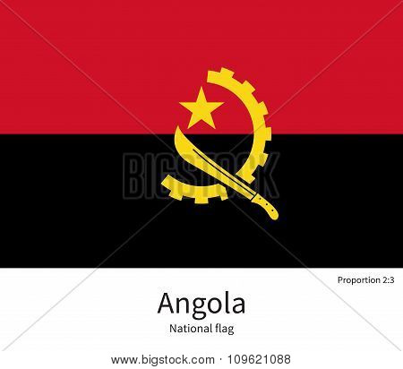 National flag of Angola with correct proportions, element, colors
