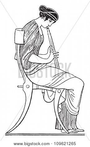 Flute player, vintage engraved illustration. Private life of Ancient Antique family 1881.