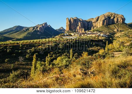Cityscape At Aguero, Aragon, Spain