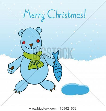 Polar Bear Wishes All A Merry Christmas