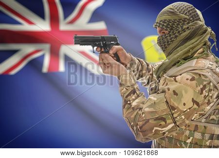 Male In Muslim Keffiyeh With Gun In Hand And National Flag On Background - Saint Helena