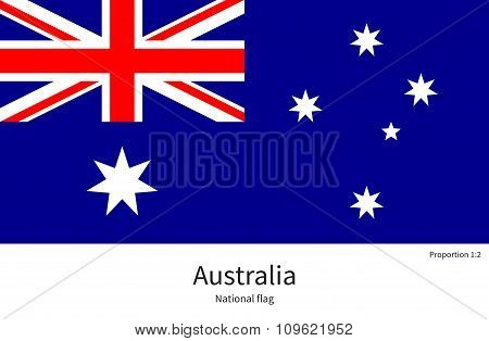 National flag of Australia with correct proportions, element, colors