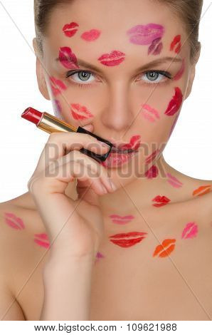 Sexy Woman With Kisses On Face In Lipstick And Lips