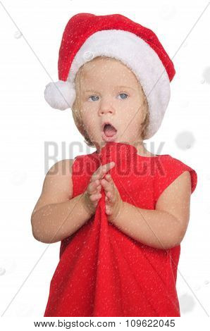 Surprised Girl In Christmas Cap, Snow