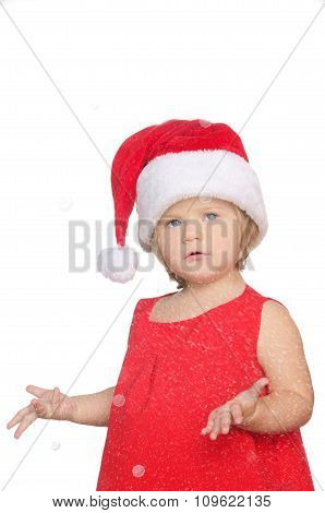 Surprised Little Girl In Christmas Cap, Snow