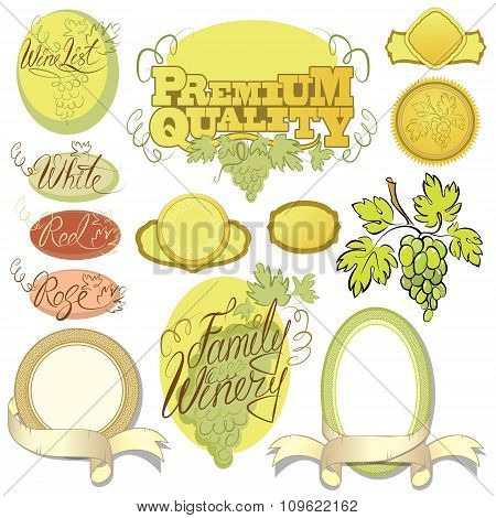 Set Of Wine Design Elements For Bar Or Restaurant - Signs, Icons, Vignettes Collection, Calligraphy