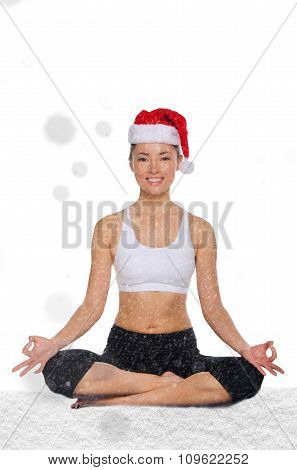 Happy Asian Woman In Christmas Hat With Snow Trains Fitness
