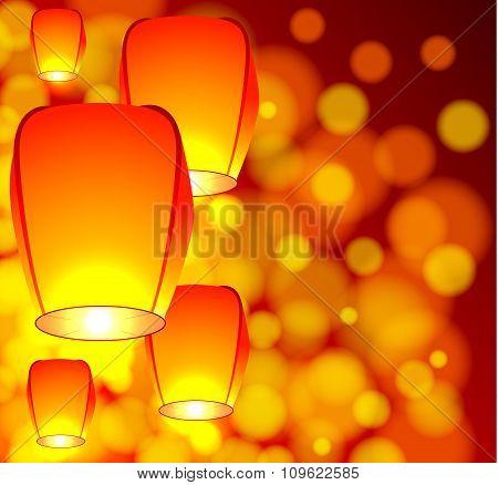 Air lanterns in the sky
