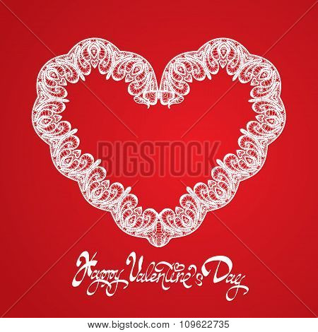White Heart Shape Is Made Of Lace Doily On Red Background, Holiday Card With Calligraphic Text Happy