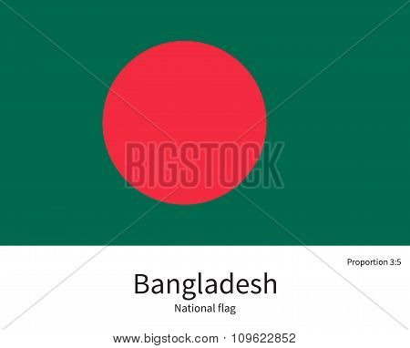 National flag of Bangladesh with correct proportions, element, colors