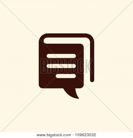 Book And Speech Bubble Vector Sign