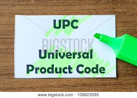 Universal Product Code Word Hightlighted
