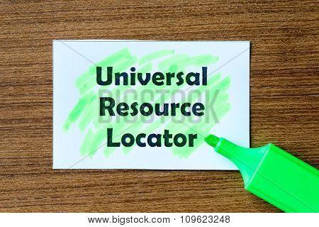 Universal Resource Locator Word Hightlighted