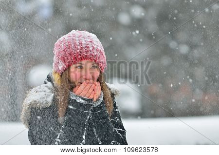 Young Girl In Winter Time